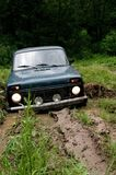 Offroad in wilds. Stable car during expedition slavery Stock Photo