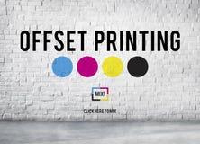 Offset- Cyan magentafärgat gult nyckel- begrepp för printingprocess CMYK royaltyfri fotografi