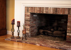 Offset fireplace and holiday decorations Royalty Free Stock Photos
