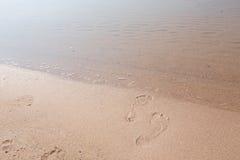 Offset Footprints In Sand Lake Michigan Beach Horizontal Stock Photos