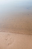 Offset Footprints In Sand Lake Michigan Beach Vertical Stock Photo