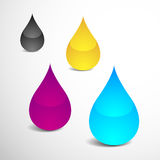 Offset Ink Drops. Vector Illustration of Four Drops With Offset Printing Colors (eps v.10 Royalty Free Stock Photo