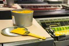 Detail of rollers in offset printing machine. Offset machine. ink color drums in a print machine Stock Photography