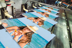 Offset machine press print run at table. Fountain key color management spectrophotometar control unit stock photo