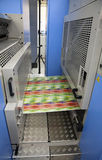 Offset press printing for labels. Offset printer for labels and flexible packaging royalty free stock photography