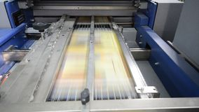 Offset print machine in print house stock video