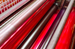 Offset print machine red roller detail Royalty Free Stock Image