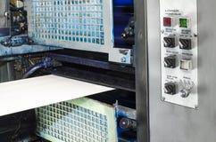 Offset print press at work. Speed of Offset print press at work stock photos