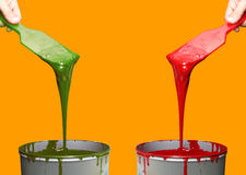 Offset Printing ink. Printing Press Ink. Offset ink. Red and green ink Stock Photos
