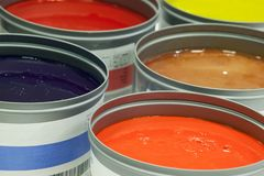Offset printing ink, paint cans. Offset printing ink, Offset paint cans stock photography