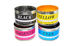 Offset Printing Inks. Four Color Printing Inks Used For Offset Printing stock images