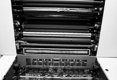 Offset Printing Machine. Opened Offset Printing Machine. Print industry concept royalty free stock image
