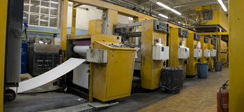 Offset Printing Machine. The offset printing machines inside the plant of a journal manufacturer stock photo