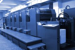 Offset printing machine. Large, industrial offset printing machine royalty free stock images