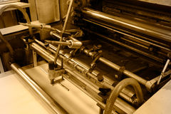 Offset printing machine. Offset press machine in printing house stock photos