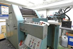 Offset Printing Machine. Big Offset Printing Machine in Print Factory royalty free stock photos