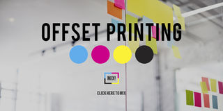 Offset Printing Process CMYK Cyan Magenta Yellow Key Concept.  royalty free stock photography