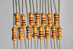 Offset resistors aligned in a pattern Royalty Free Stock Images