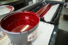 Offsetdruckmaschine (rote Tinte) Lizenzfreie Stockfotografie
