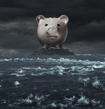 Offshore Account. And overseas banking concept as a tax haven symbol as a piggy bank on an island surrounded by a turbulent ocean as an icon for tax evasion or Royalty Free Stock Photo