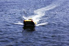 An offshore boat taxi in the sea of Golden horn in Istanbul Royalty Free Stock Images