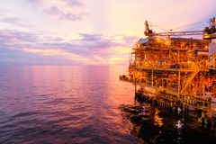 Offshore construction platform for exororation and production oi Royalty Free Stock Image