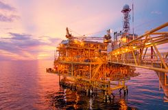 Offshore construction platform for exororation and production oi Stock Photos