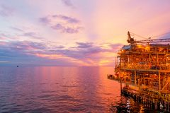 Offshore construction platform for exororation and production oi Stock Images