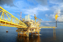Offshore Construction Platform For Production Oil And Gas. Oil And Gas Industry And Hard Work Industry. Production Platform Stock Photo