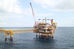 Offshore construction platform for production oil and gas,Oil and gas industry Stock Photo