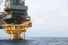 Offshore construction platform for production oil and gas. Oil and gas industry and hard work industry. Production platform Stock Photography