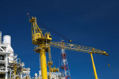 Offshore construction platform for production oil and gas, Oil and gas industry and hard work, Production platform and operation Stock Photos