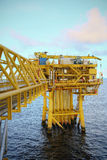 Offshore construction platform for production oil and gas, Oil and gas industry and hard work, Production platform and operation Royalty Free Stock Photography