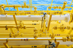 Offshore construction platform for production oil and gas, Oil and gas industry and hard work,Production platform and operation Royalty Free Stock Photos