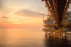 Offshore construction platform for production oil and gas, Oil and gas industry and hard work, Production platform and operation Stock Image