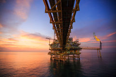 Offshore construction platform for production oil and gas, Oil and gas industry and hard work, Production platform and operation Royalty Free Stock Images