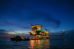 Offshore construction platform for production oil and gas, Oil and gas industry and hard work,Production platform royalty free stock image