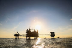 Offshore construction platform for production oil and gas, Oil and gas industry and hard work,Production platform and operation Stock Photography