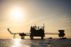 Offshore construction platform for production oil and gas, Oil and gas industry and hard work,Production platform and operation Stock Image