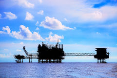 Offshore construction platform for production oil and gas, Oil and gas industry and hard work,Production platform and operation Stock Photos