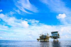 Offshore construction platform for production oil and gas, Oil and gas industry and hard work,Production platform and operation Royalty Free Stock Image