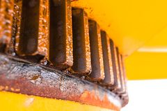 Offshore crane gear teeth. Predestal crane gear teeth for swing boom left and right Stock Photo