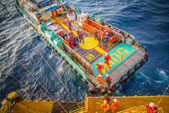 Offshore crew boat coming to receive passenger sent to work place. Royalty Free Stock Image