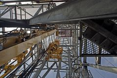 Offshore Derrick View. A view upward of an Offshore Drilling Rig Derrick Stock Photo