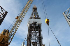 Offshore Drill Rig and Rig Crane Royalty Free Stock Image