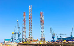 Offshore drilling platform in repair Stock Image