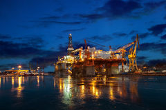 Offshore drilling platform in repair Royalty Free Stock Images