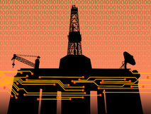 OFFSHORE OIL GAS DRILLING RIG TECHNOLOGY PRODUCTION CONCEPT. Offshore Drilling Oil Well Technology Concept Stock Photo