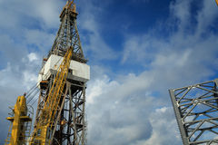 Offshore Drilling Rig with Working Cranes Royalty Free Stock Photo
