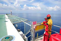 An offshore fireguard on the helideck Royalty Free Stock Images